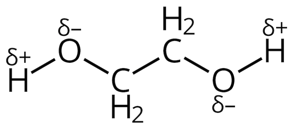 Ethylene glycol structure. The electronegative oxygen atoms cause local charge displacements within the molecule.